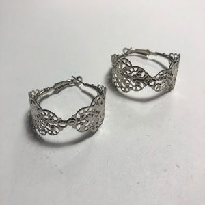 Floral Silver Hoops
